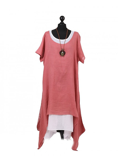 Italian Plain 2 Layered Linen Lagenlook Dress