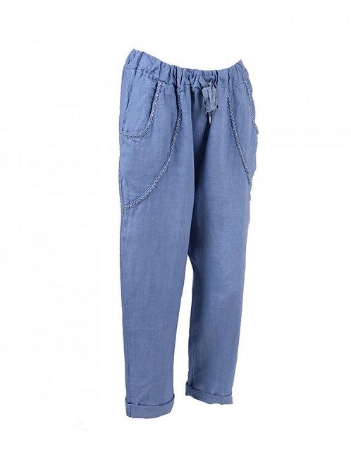 Italian Lurex Pockets Linen Casual Trouser