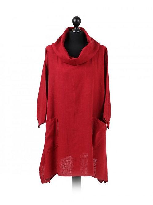 Italian Plain Cowl Neck Linen Tunic