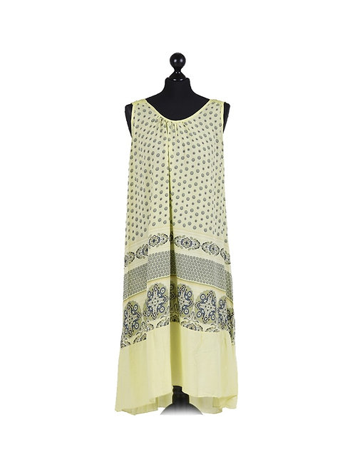 Italian Circle Print Crochet Back Lagenlook Dress