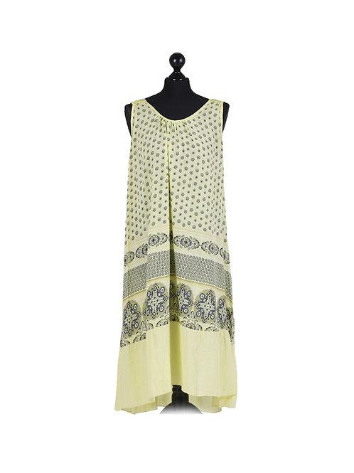 Italian Circle Print Crochet Back Lagenlook Dress