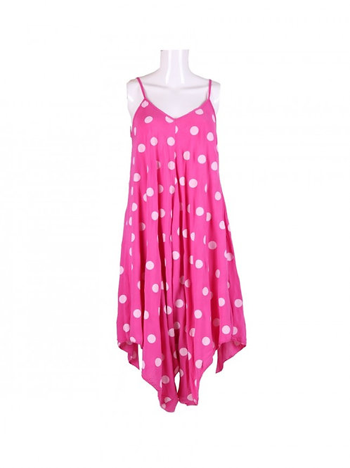 Italian Polka Dot Strappy Lagenlook Cotton Jumpsuit