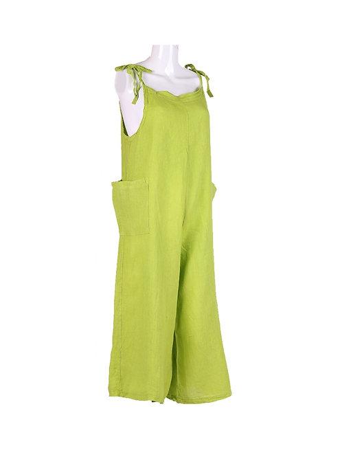 Italian Plain Linen Side Pockets Dungaree Dress