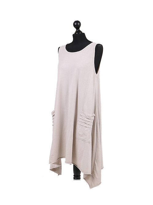 Italian Pleated Pocket Sleevelss Cotton Tunic Dress