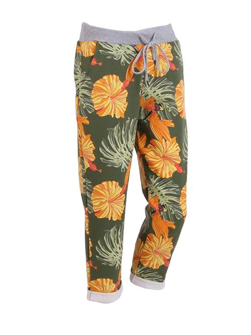 ItalianRosemellow Floral Print Cotton Trouser