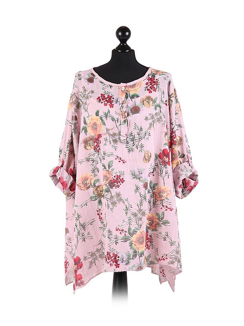 Italian Floral Print With Under Layer Vest Tunic Cotton Top