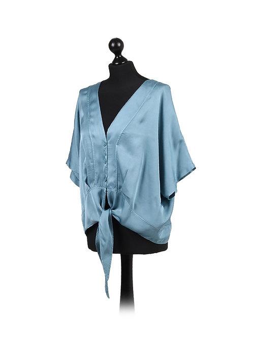 Italian Front Buttons Tie Knot Silk Lagenlook Top