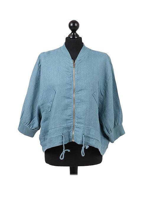 Italian Front Zip Linen Lagenlook jacket