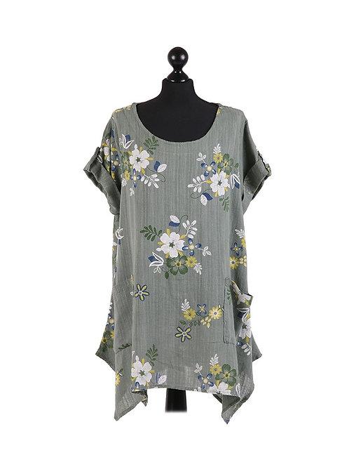 Italian Floral Print Front Pocket Linen Tunic Top