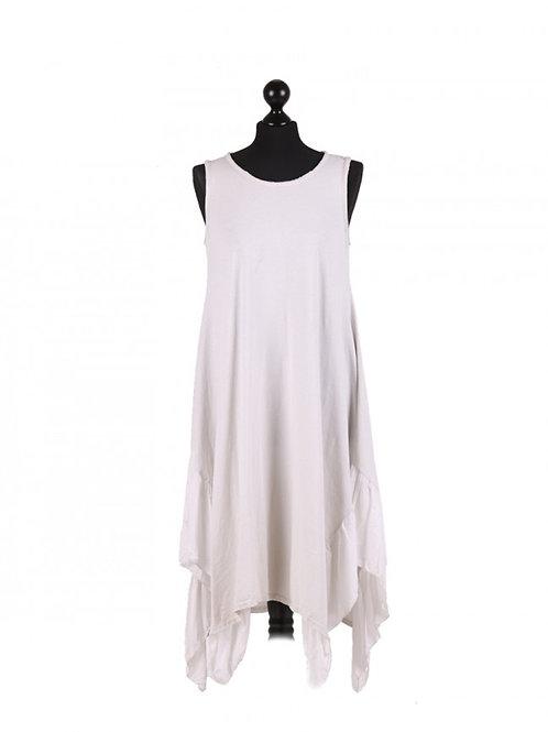 Italian Side Frill Hem Sleeveless Lagenlook Cotton Dress