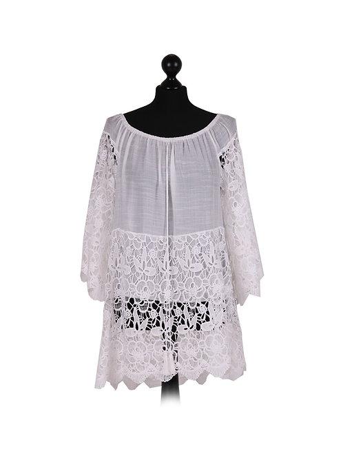Italian Crochet Lagenlook Cotton Top