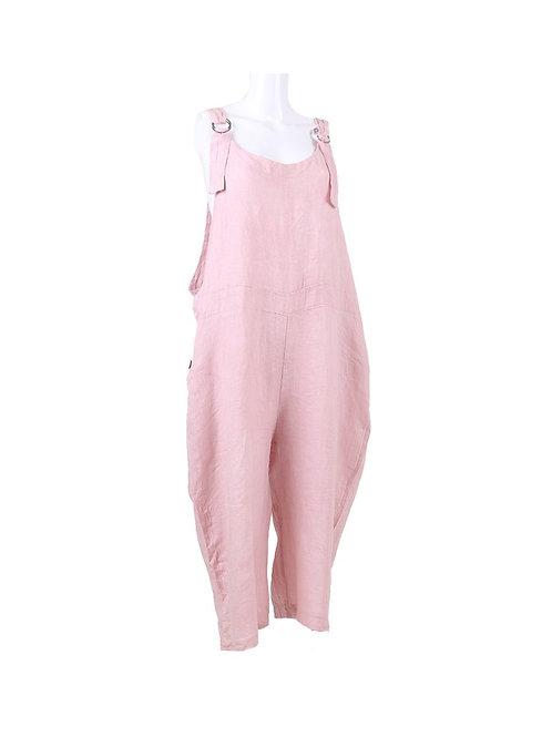 Italian Plain Dungaree Linen Lagenlook Dress