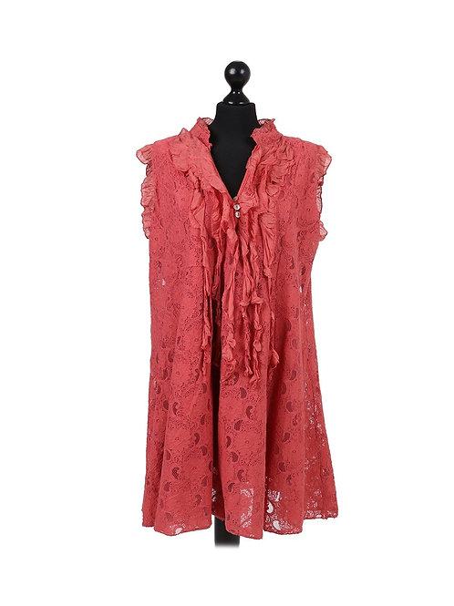 Italian 2 Layered Crochet Net Lagenlook Dress