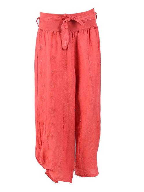 Italian Embroidered Linen Trouser