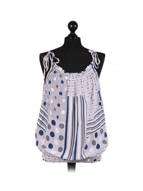 Italian Polka Dot & Stripy Print Lagenlook Cami Vest