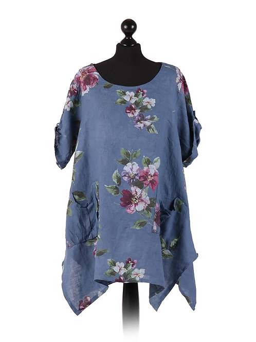 Italian Floral Linen Tunic Top