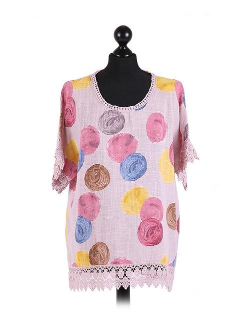 Italian Multicolor Polka Cotton Lagenlook Top