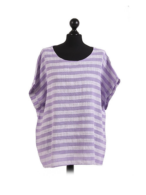 Italian Stripe Print Baggy Sleeves Cotton Lagenlook Crop Box Top