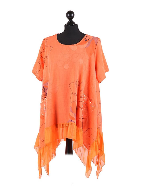 Italian Leaf Print Silk Panel Cotton Tunic Top