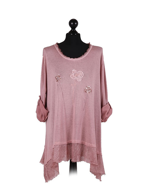 Italian Knitted Shimmering Tulips Lagelook Top
