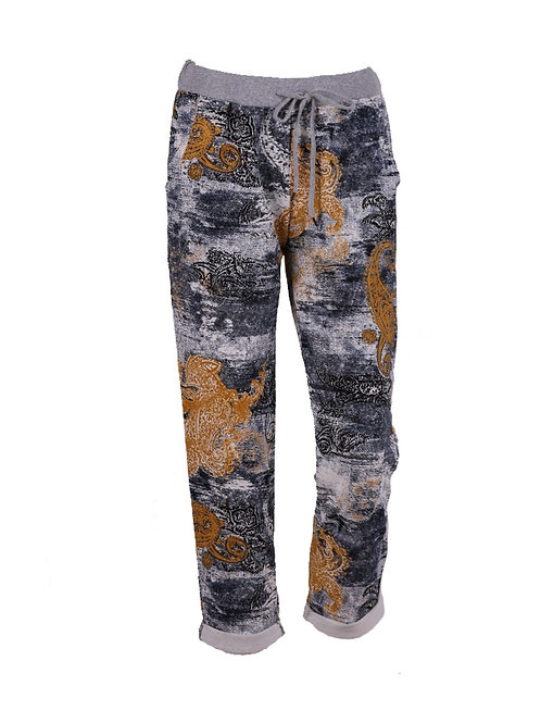 Italian Paisley Print Cotton Tapered Joggers