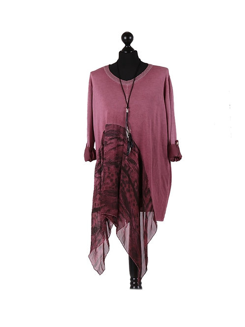 Italian Knitted Feather Print Asymmetrical Silk Hem Lagenlook Top