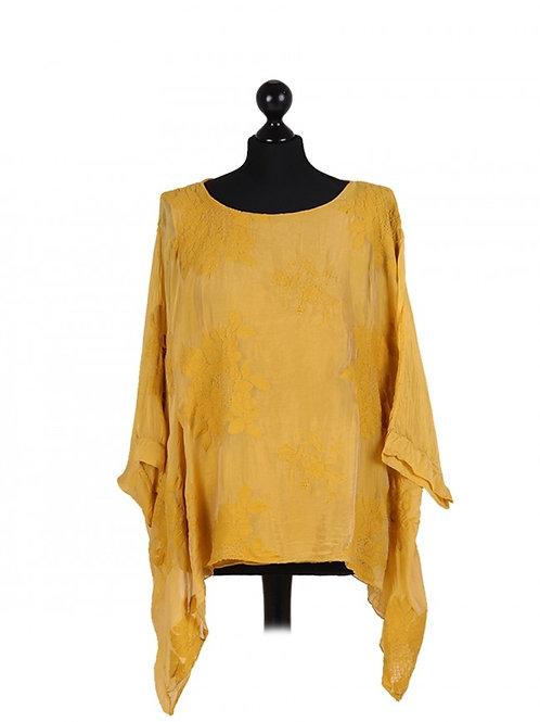 Italian Embroidered Silk Tunic Top