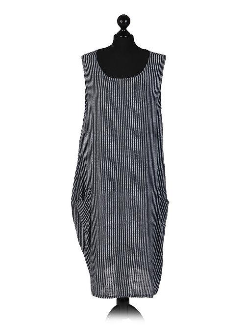 Italian Stripe Print Sleevelss Lagenlook Cotton Dress