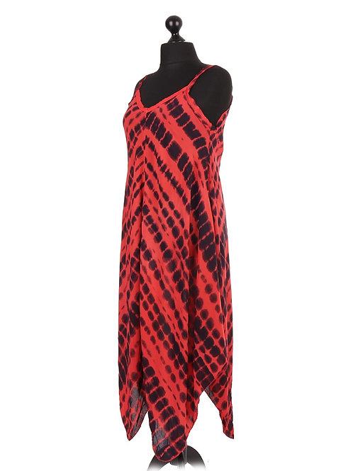 Italian Tie & Dye Strappy Fluid Handkerchief Hem Dress