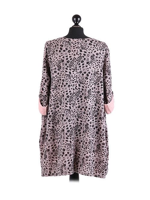 Italian Leopard Print Front Pockets LL Knit Top