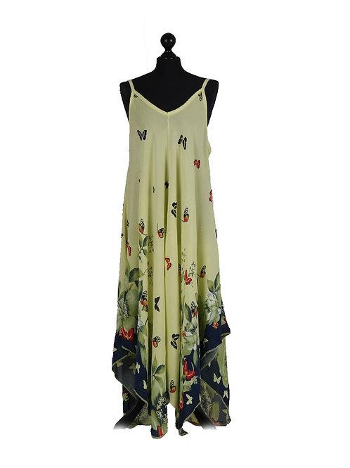 Italian Butterfly Print Lagenlook Strappy Dress
