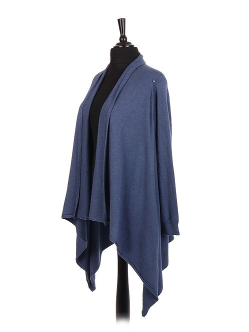 Italian Two Way Waterfall Cardigan / Wrap Over Cape Full Sleeves