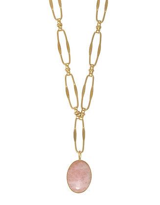 Sautoir médaillon ovale quartz rose POSITANO
