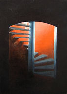 Huile sur toile, peinture, Garance Monziès, escalier, lumière, ombre, bateau, Londres
