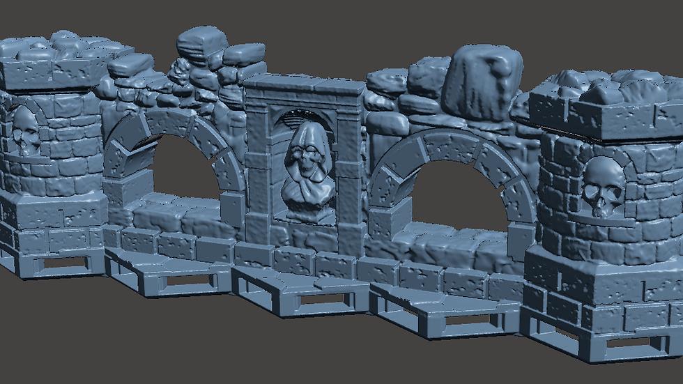 Five Hex Dungeon Flat Wall (Digital 3D Print File)
