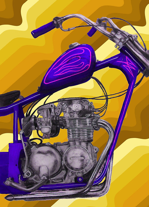 Purple CB550 Chopper