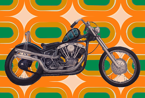 Love Cycles - Orange Retro Shovelhead