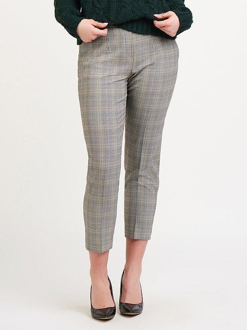 Cropped Plaid Trouser-Black/Sand Glencheck