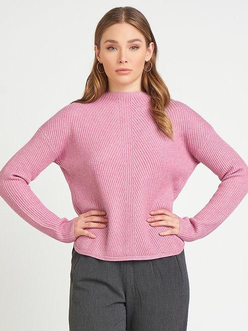 Mock Neck Ribbed Sweater-Heather Pink Mauve