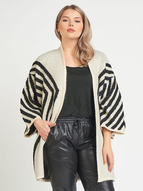 Kimono Sleeve Cardigan Sweater-Black/Cream Geo-Plus