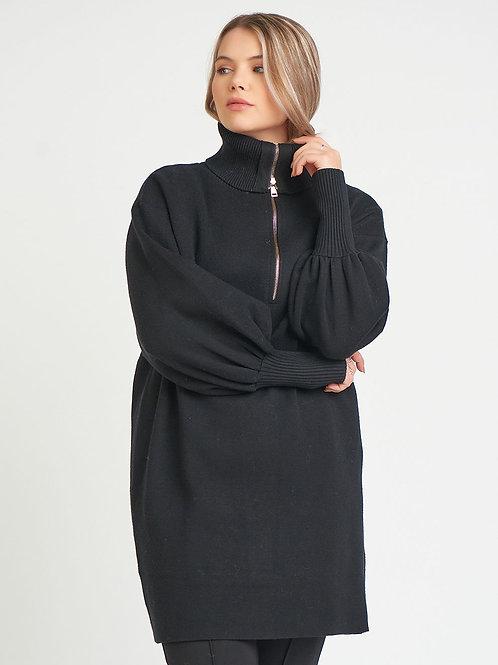 Front Zip Turtle Neck Tunic Sweater-Plus
