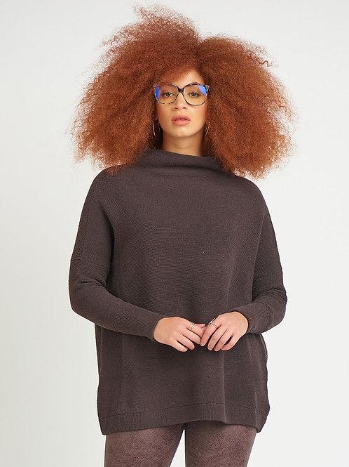 Ottoman Slouchy Tunic Sweater-Chocolate Brown