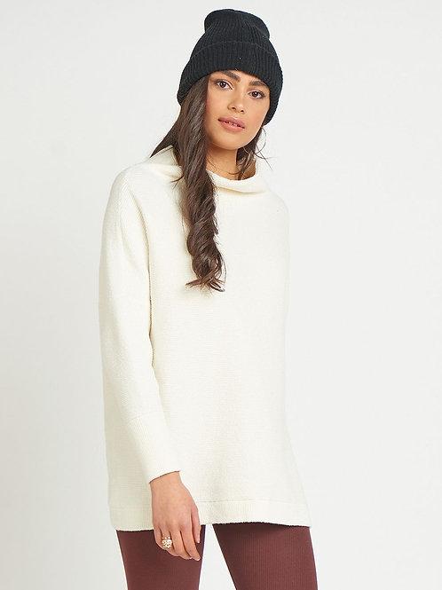 Ottoman Slouchy Tunic Sweater-Cream