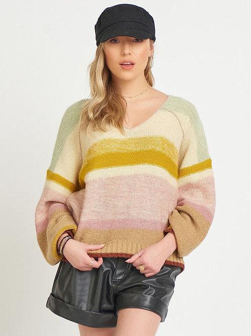 V Neck Multi Color Sweater