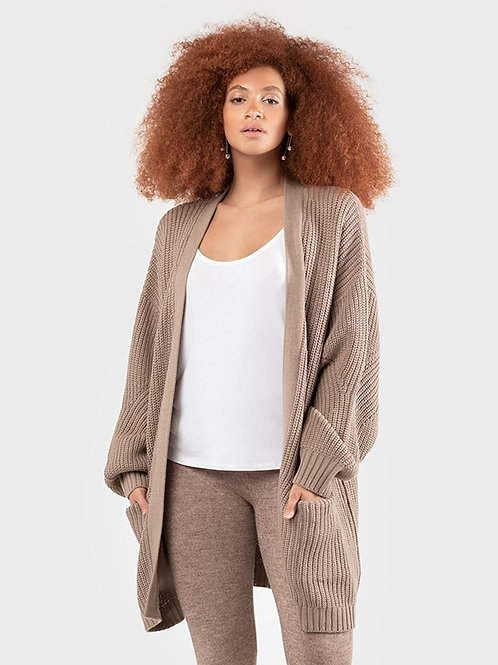 Cardigan Sweater with Pockets-Taupe