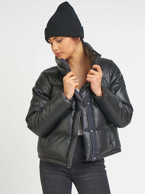 Faux Leather Puffer Jacket-Black