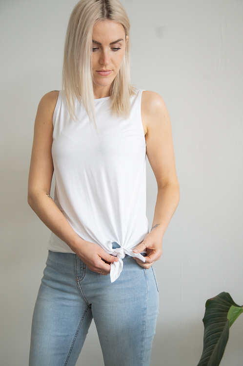 Let Your Beauty Shine from Within-Tie Tank Fresh White