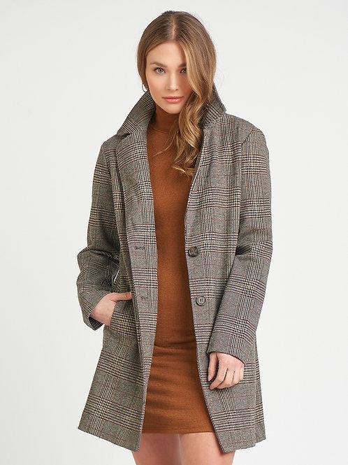 Two Button Longline Blazer Jacket-Brown Plaid
