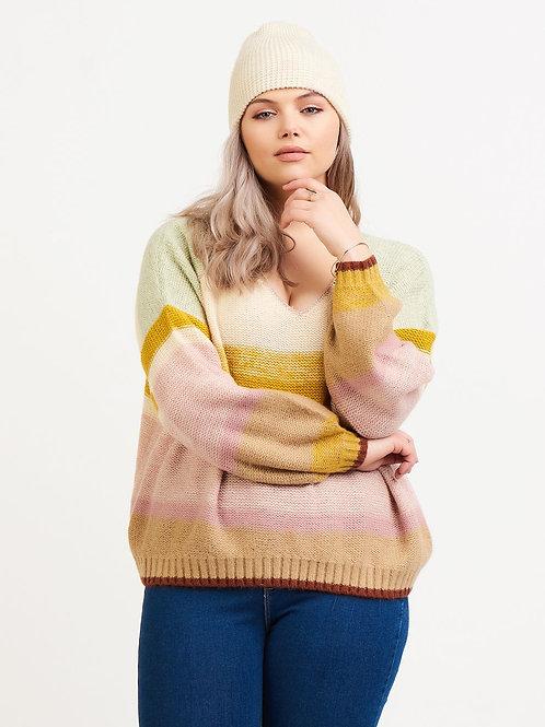 V-Neck Multi Color Sweater-Mint/Yellow/Pink Multi-Plus