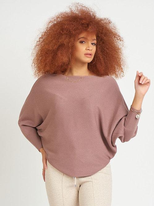 Dolman Sleeve Ribbed Round Hem Sweater-Dusty Blush